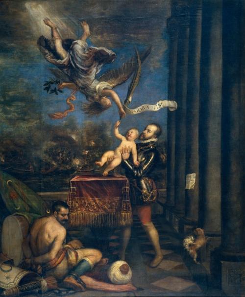 Tiziano. Felipe II ofreciendo al cielo al infante don Fernando. 1573-1575. Museo del Prado. Madrid.
