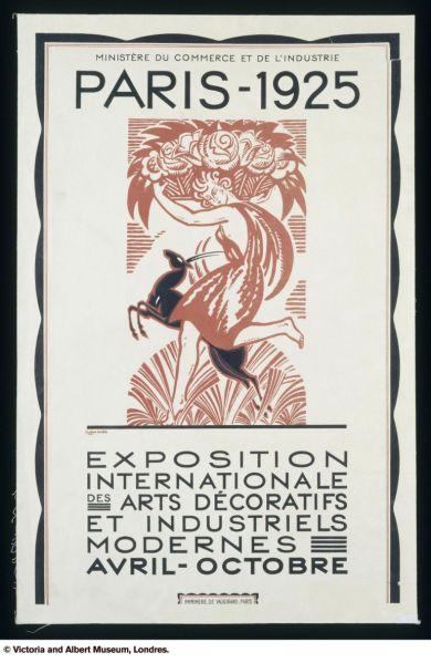 Cartel exposición internacional de artes decorativas e industriales. 1925. Museo Victoria & Albert.