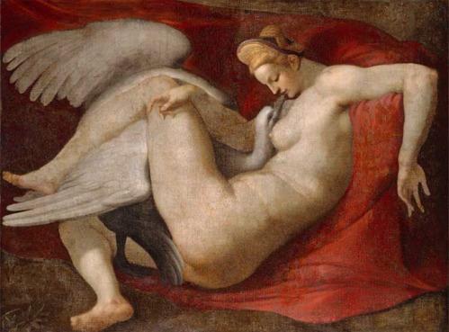 Copia del siglo XVI de un cuadro desaparecido de Miguel Ángel. Leda y el cisne.1530. National Galley. Londres