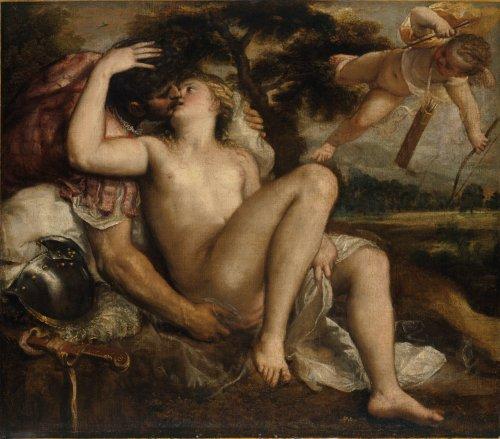 Tiziano y taller. Marte, Venus y Cupido. Museo Guggenheim. Posterior a 1546. Bilbao.