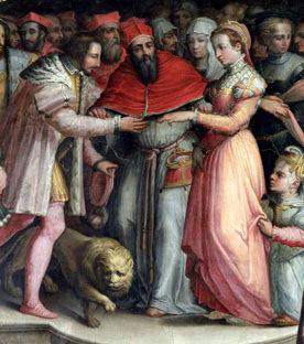 Giorgio Vasari. Fresco que representa el matrimonio de Enrique II y Catalina de Medicis. 1550. Musei dei Ragazzi di Firenze. Palacio Vecchio. Florencia.
