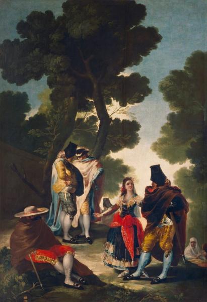 Francisco de Goya. El paseo de Andalucía o la maja y los embozados. 1777. Museo Nacional del Prado. Madrid.