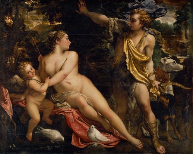 Annibale Carracci. Venus, Adonis y Cupido. Hacia 1590. Museo del Prado.