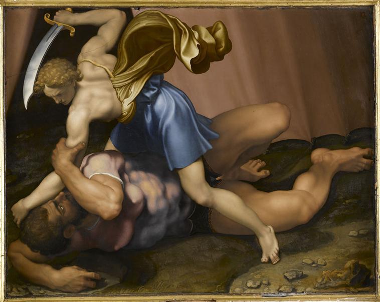 Daniele da Volterra .David matando a Goliat. Hacia 1555. Museo del Louvre.