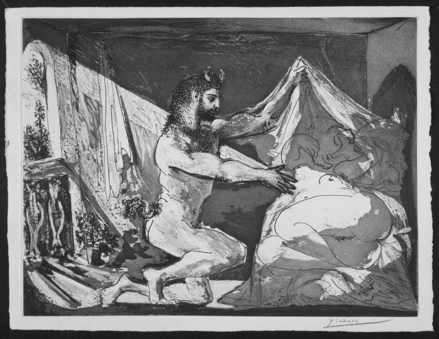 Pablo Picasso. Fauno descubriendo a una mujer. Suite Vollard. 1936. Museo Reina Sofía. Madrid.