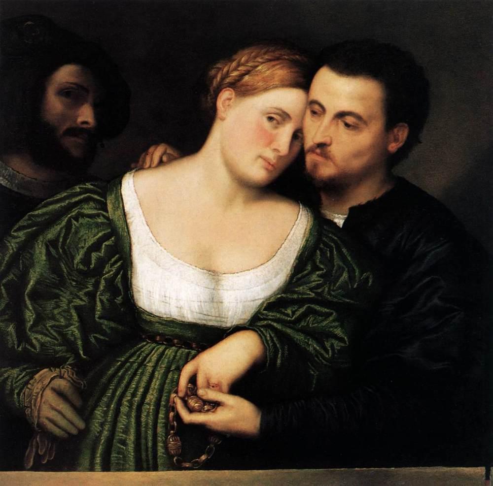 Paris Bordone. Los amantes venecianos. Hacia 1525-1530. Pinacoteca Brera. Milán.
