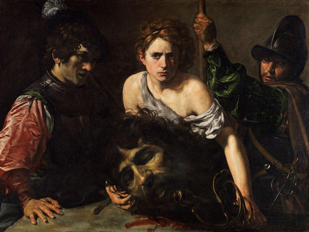 Valentin de Boulogne. David con la cabeza de Goliat y dos soldados. .Hacia 1620-1622. Museo Thyssen-Bornemisza. Madrid.