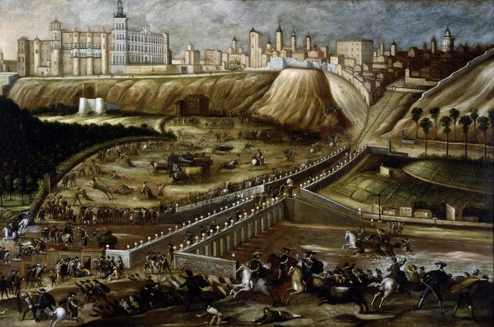 Vista del Alcázar Real de Madrid y entorno del Viejo Puente de Segovia (Tarde de toros en la ribera del Manzanares). Hacia 1670. Museo Soumaya. México D.F.