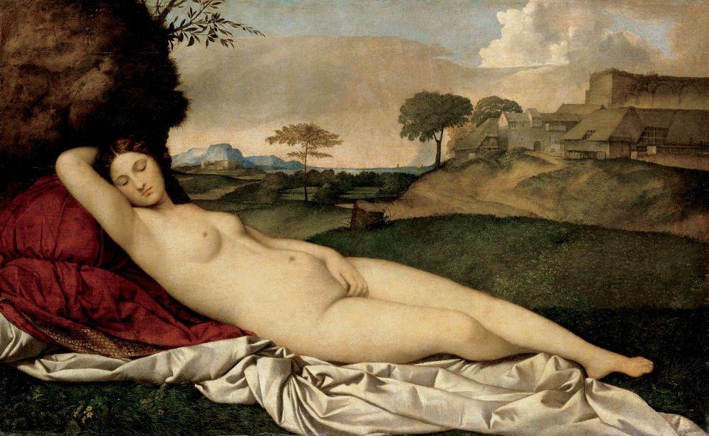 Giorgione.Venus dormida o Venus de Dresde. 1507-1510. Gemäldegalerie Alte Meister, Dresde. Alemania.