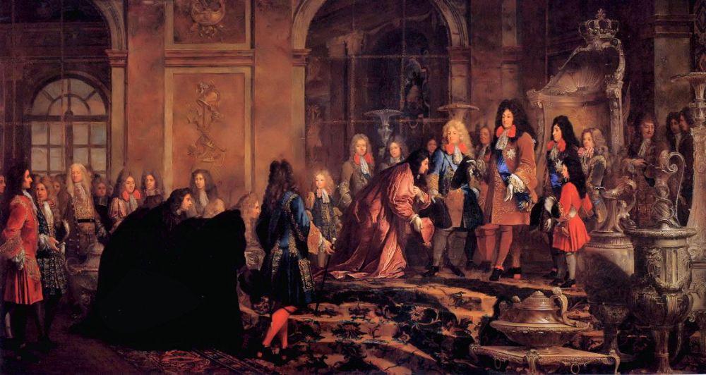Claude-Guy Hallé. Las disculpas a Luis XIV por el Dux de Génova Francesco Maria Lercari Imperiale, 15 de mayo 1685. 1715. Palacio de Versalles.