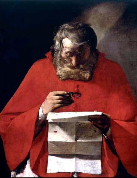 Georges de La Tour. San Jerónimo leyendo una carta (detalle) Lienzo Propiedad del Instituto Cervantes, cedido en depósito al Museo del Prado.