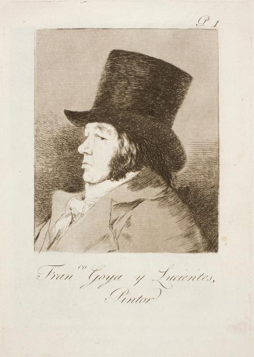 Francisco de Goya. Capricho nº 1: Francisco Goya y Lucientes, Pintor. 1799. Museo del Prado.