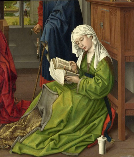 Roger Van der Weyden. La Magdalena leyendo (detalle). Hacia 1435–1438. National Gallery. Londres.