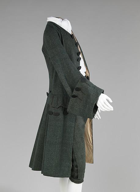 Traje masculino a la francesa. Hacia 1755-1765. Reino Unido. Lana, seda. Metropolitan Museum. Nueva York.