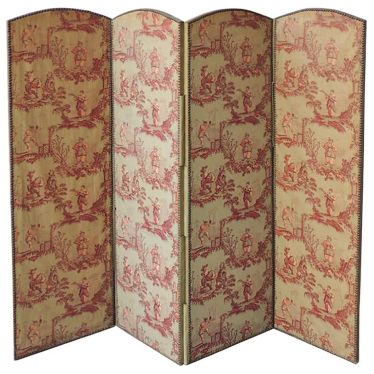 Biombo con tela toile de jouy. Siglo XVIII. Francia.