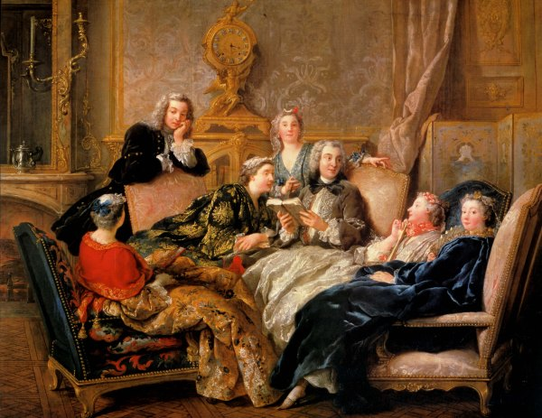 Jean-François de Troy, Lectura de Molière .Hacia 1728. Colección marqués de Cholmondeley. Houghton. EEUU.