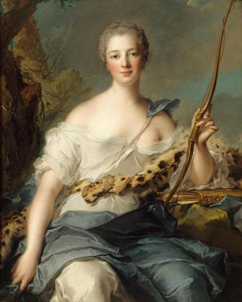 Jean-Marc Nattier. Madame_de_Pompadour_como_Diana cazadora. 1746. Palacio de Versalles.