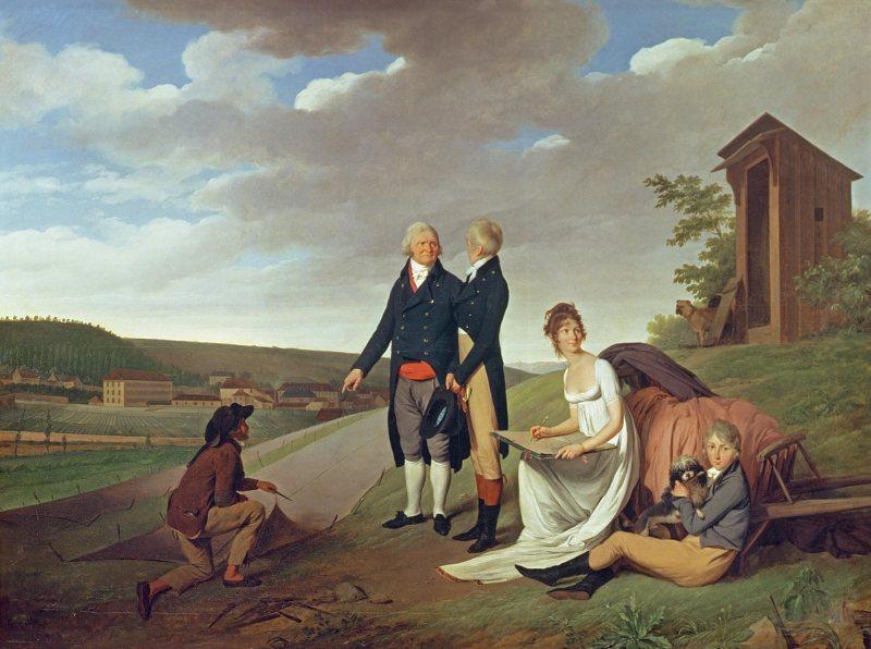 Louis Léopold Boilly. Christophe-Philippe Oberkampf y su familia frente a la fabrica en Jouy. 1803, Colección particular.
