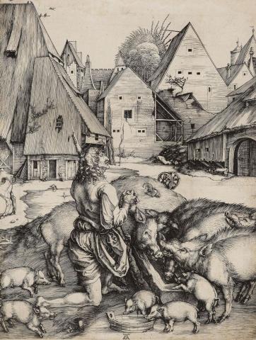 Alberto Durero. El hijo pródigo. Hacia 1496. Colección Real Británica.