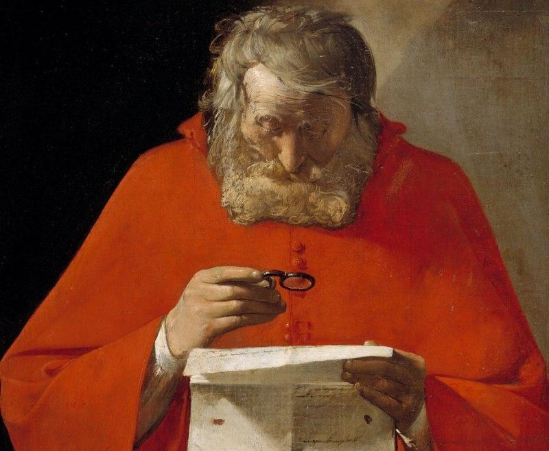 Georges de la Tour. San Jerónimo leyendo una carta. Museo del Prado. Madrid.