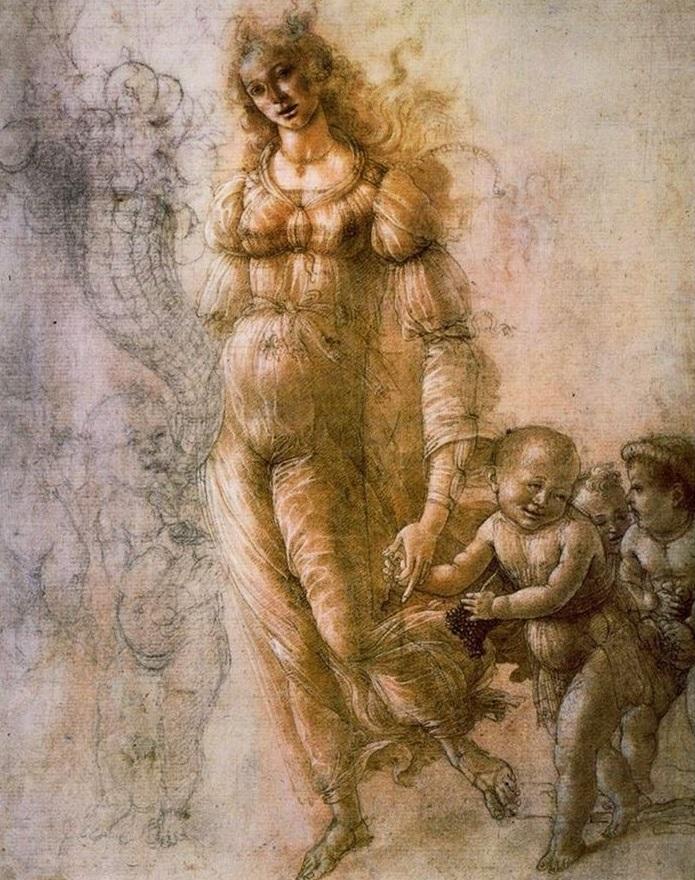 Sandro Botticelli. Alegoría de la Abundancia u Otoño. Hacia1480-1485. Galeria de los Ufizzi Florencia.