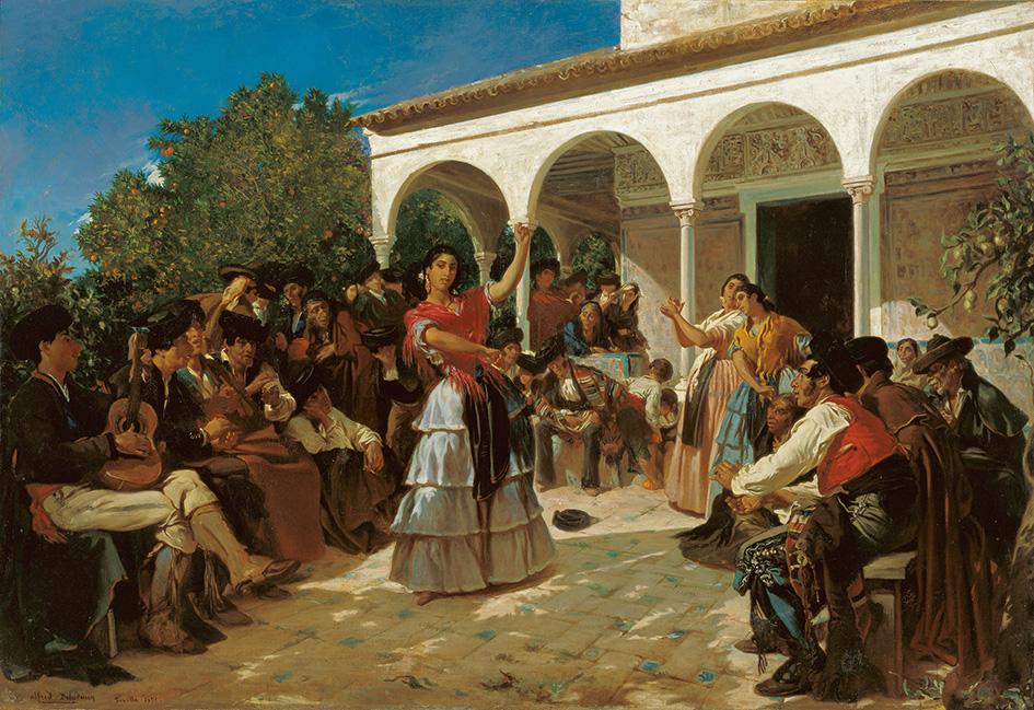 Alfred Dehodencq. Un baile de gitanos en los jardines del Alcázar, delante del pabellón de Carlos V. 1851. Museo Carmen Thyssen. Málaga.