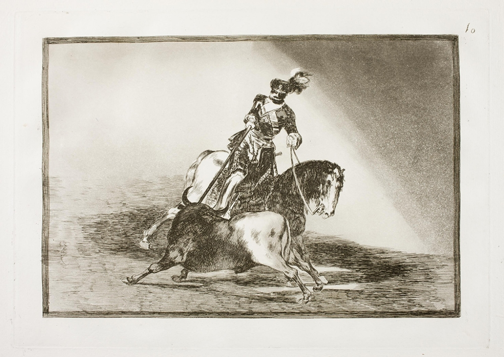 Francisco de Goya. Carlos V lanceando un toro en la plaza de valladolid. 1814-16. Tauromaquia.