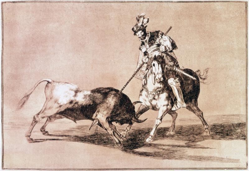 Francisco de Goya. El Cid Campeador lanceando otro toro. Tauromaquia.