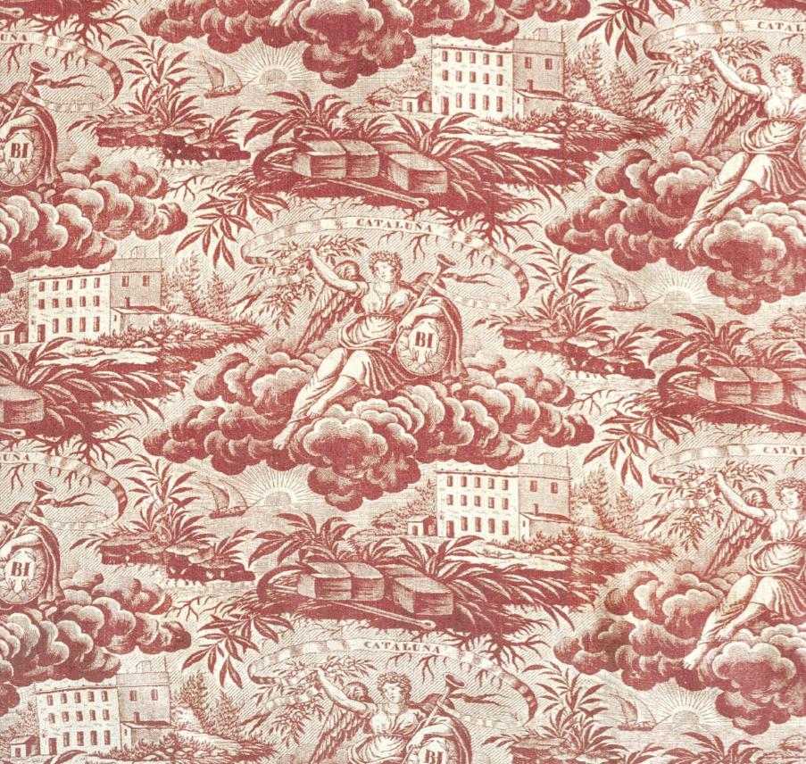 Alegoría de la industria. Algodón estampado con rodillos de cobre. Cataluña. Mediados de s. XIX. CDMT. Barcelona.