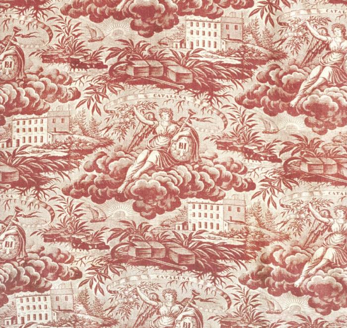 Alegoría de la industria. Algodón estampado con rodillos de cobre. Catluña. Mediados de s. XIX. CDMT