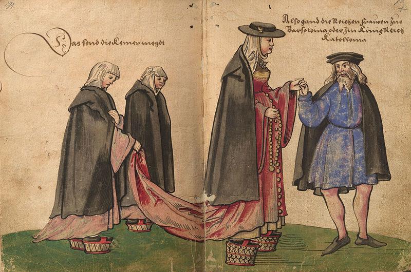 Christoph Weiditz. Libro sobre indumentaria. Acuarela de una mujer española hacia 1530.