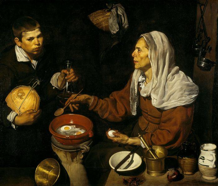 Diego Rodríguez de Silva Velázquez. La vieja friendo huevos. Hacia 1618. National Gallery. Edimburgo.