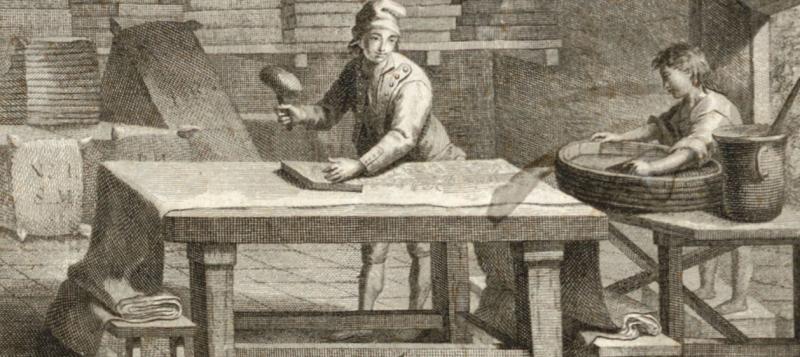 Estampador de indianas. Grabado de P.P. Molés y P.P Montanyá. 1802. AHCB