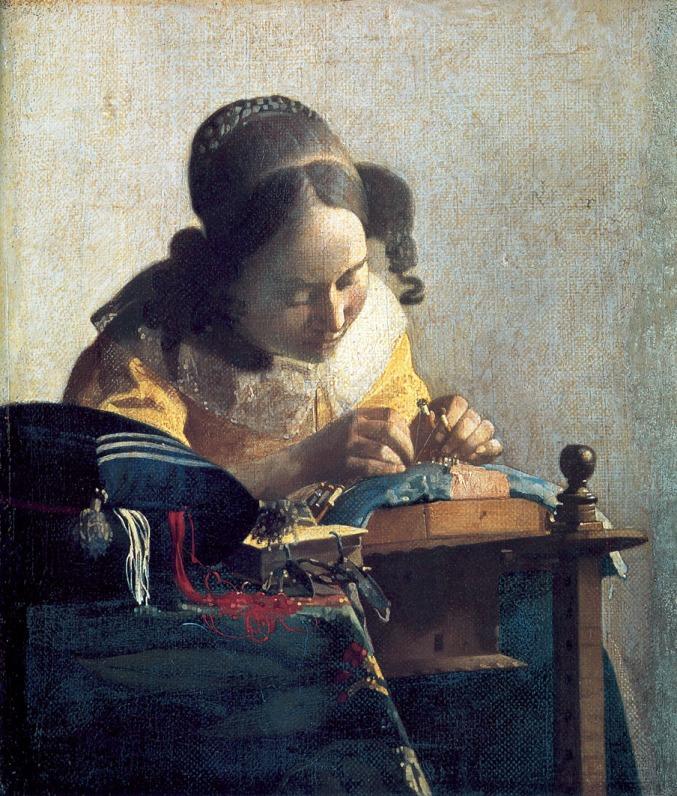 Johannes Vermeer. La encajera. Hacia 1669. Museo del Louvre. París.
