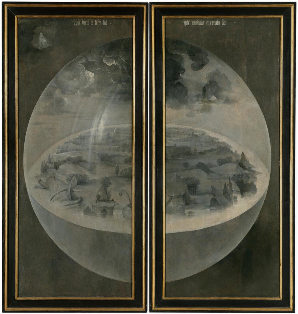 """El Bosco. Tríptico """"El jardín de las delicias"""" cerrado . La creación del mundo. Hacia 1500-1505. Museo del Prado. Madrid."""