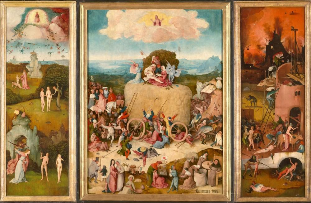 El Bosco. Tríptico del carro de heno. 1512-1515. Museo Nacional del Prado. Madrid.
