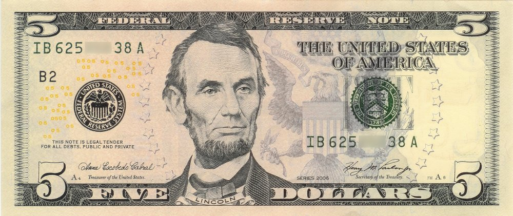 Billete de 5 dolares.