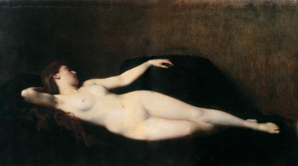 Jean-Jacques Henner. Mujer sobre un diván negro. 1865. Museo de Bellas Artes. Mulhouse.