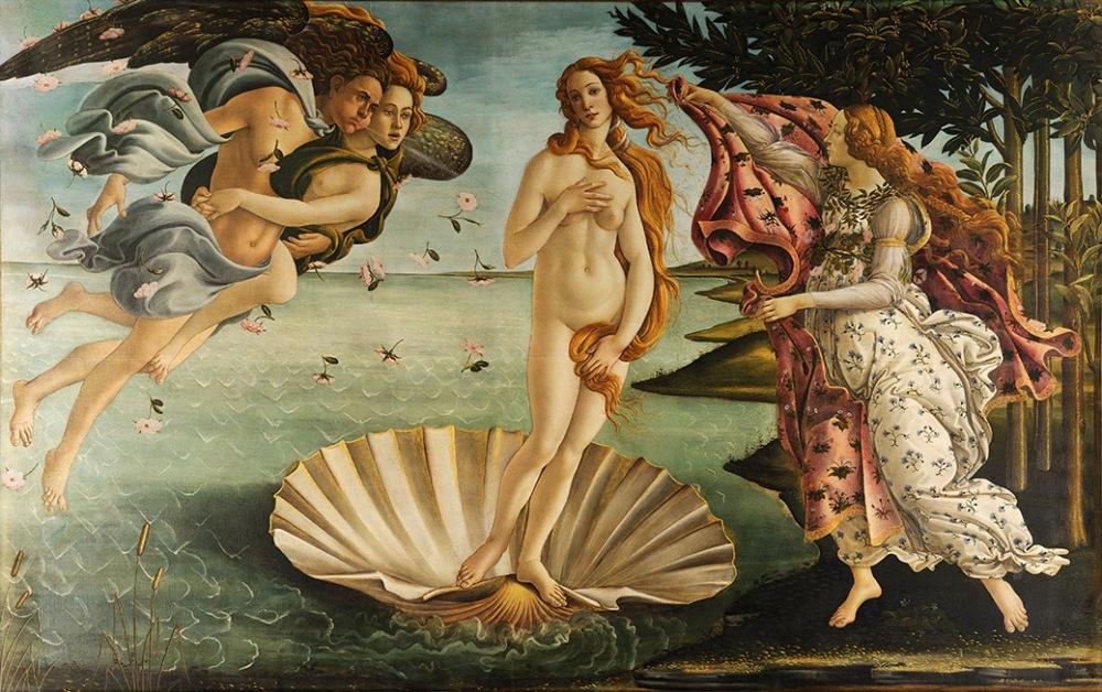 Sandro Botticelli. El Nacimiento de Venus. Valeria de los Uffizi. Florencia.
