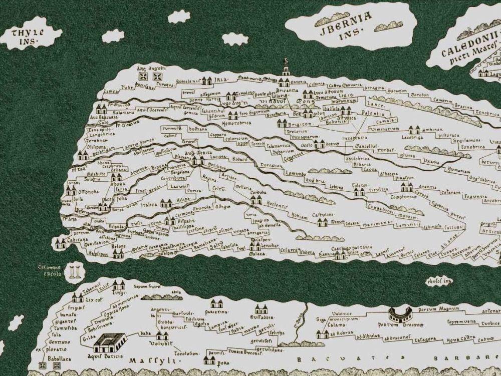 Tabula Peutingeriana. Pergamino manuscrito. Hacia 1200. Biblioteca Augustana. Universidad de Augsburgo. Alemania.