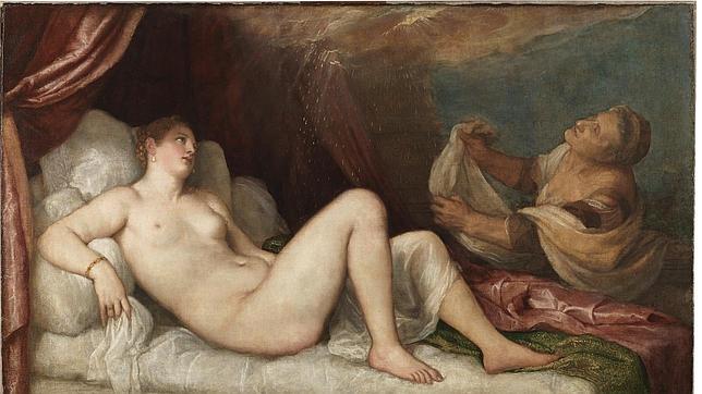Tiziano. Dánae. Primera poesía de Tiziano para el príncipe Felipe. 1553.Aspley House. Londres.