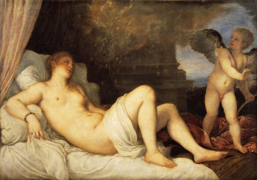 Tiziano. Dánae y la lluvia de oro. Museo de Capodimonte. Nápoles.