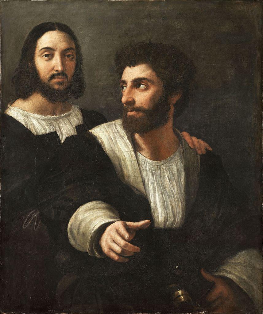 Rafael Sanzio. Autorretrato con un amigo. 1518. Museo del Louvre.