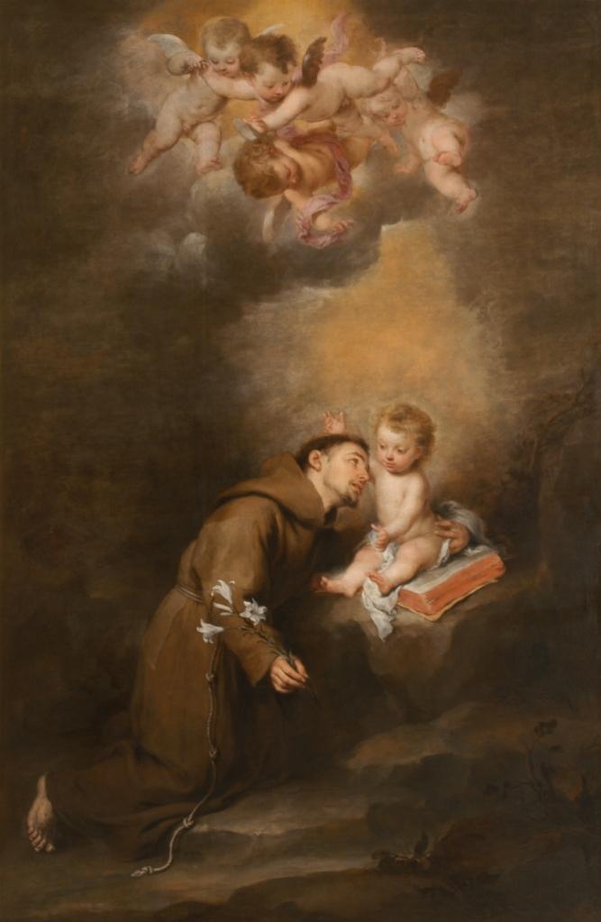 Bartolomé Esteban Murillo. San Antonio de Padua con el niño. Hacia 1665. Museo de Bellas Artes. Sevilla.