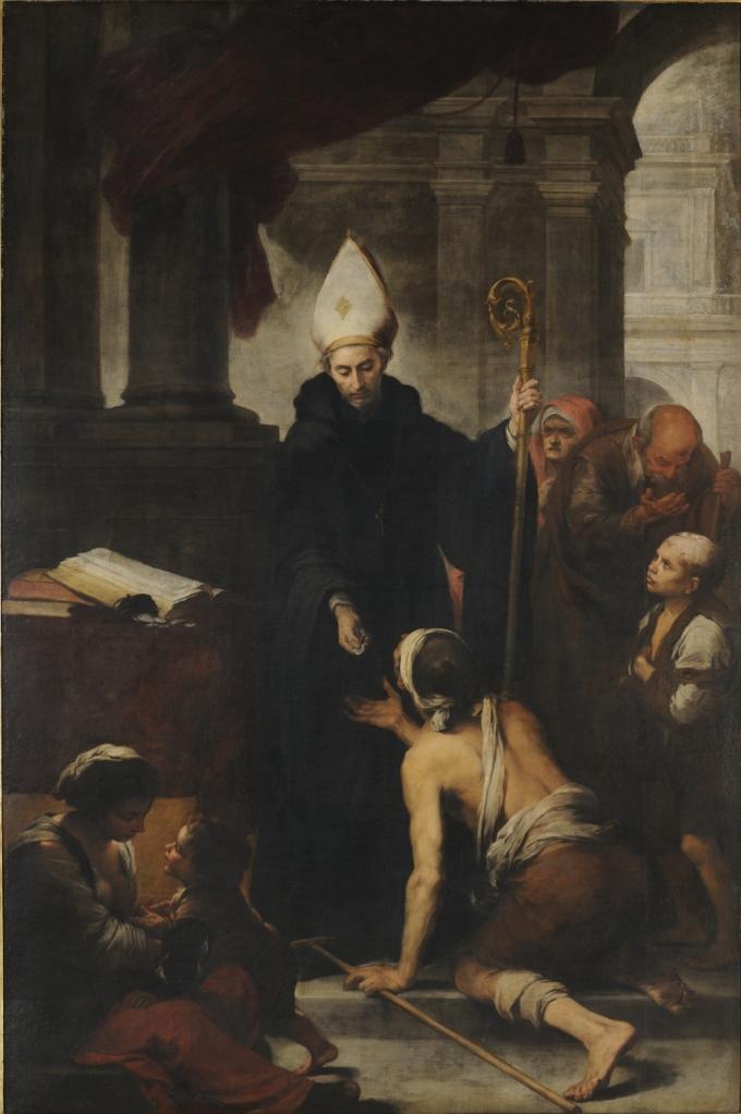 Bartolomé Esteban Murillo. Santo Tomás de Villanueva dando limosna a los pobres. Hacia 1666-1669. Museo de Bellas Artes. Sevilla.