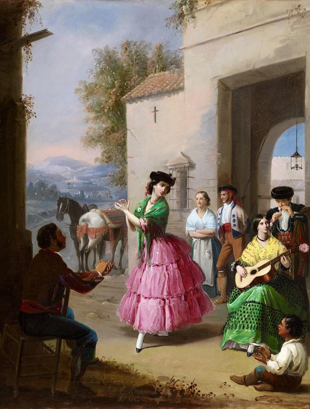 Manuel Cabral Aguado Bejarano. Jaleando a la puerta del cortijo. 1854. Museo Carmen Thyssen. Málaga.