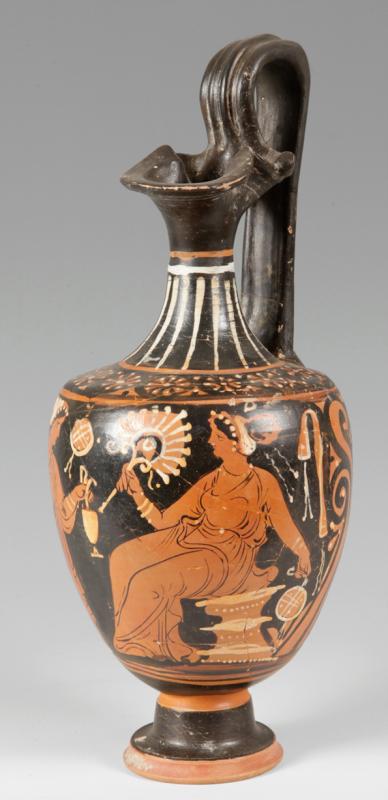 Oinochoe de Apulia. Cerámica de figuras rojas. Magna Grecia. Siglo IV a.c.