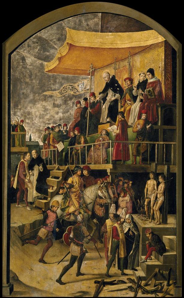 Pedro Berruguete. Auto de Fe presidido por Santo Domingo de Guzmán. 1493-1499. Museo Nacional del Prado. Madrid.