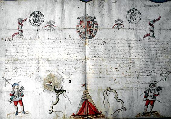 Título de comisario cuadrillero de la Santa Hermandad. Archivo Municipal de Talavera.