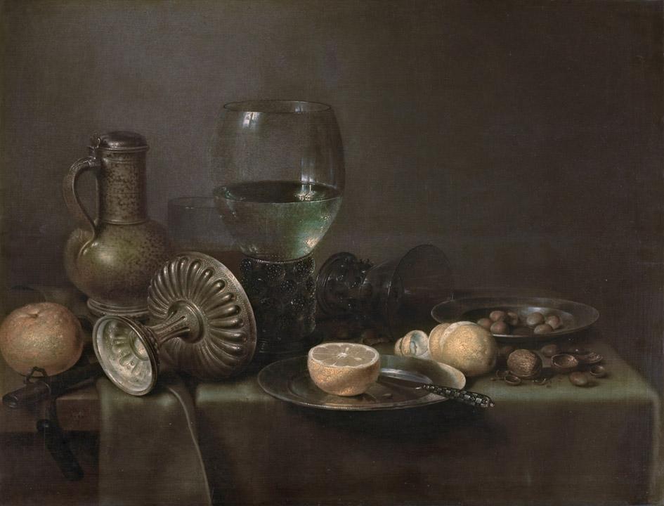 Willem Claesz Heda y taller. Bodegón con jarra de cerveza y naranja.1633